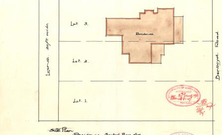 , Building Application 1911. This drawing from Esplin's original 1911 Building Application shows 'Bengallala' spreading over two lots.