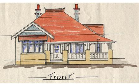 , This unsigned 1911 plan for a Neutral Bay cottage is possibly the oldest architectural drawing in North Sydney Council's collection. The house features the high-pitched terracotta roof, tall chimneys and decorative timber work characteristic of the Queen Anne English Revival style from the Federation-era. Stanton Library collection