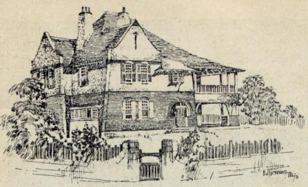 , 'Kelrose' around 1908, sketched by architect BJ Waterhouse whose depictions of Jackson's houses were published in the journal <i>Building<i/>. Stanton Library