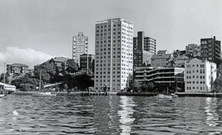 , 'Watergleam' with above ground car park in 1970. Photograph by NSW Department of Planning. Stanton Library