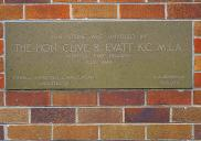 , Foundation stone for 'Quiberee' also showing the 'polychromatic' or multi-coloured brick that distinguished this block from most others built at the time. Photograph by Ian Hoskins, 2015