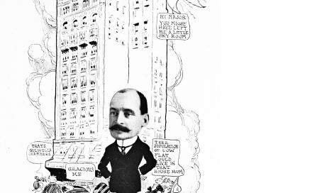 , Alfred Spain with 'Culwulla Chambers' behind as depicted in <i>Sydneyites as we know 'em</i>, 1915. National Library of Australia
