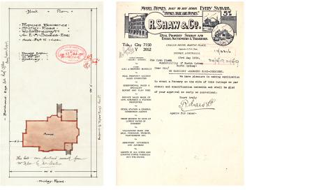 , <i>Left:</i> This hand-drawn plan submitted to North Sydney Council by Donald Esplin as part of the Building Application for a house in Wollstonecraft in 1910 is a particularly beautiful example of the documentation needed for permission to build a house after the 1906 Local Government Act. Stanton Library <i>Right:</i> The 1919 letterhead for RD Shaw prolific property business which ran from construction to auctioneering. Stanton Library