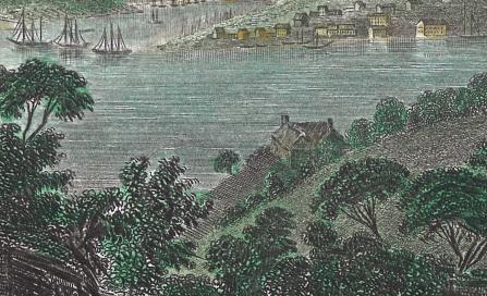 , This detail, from a French print by Gilquin Dupain, shows what is probably Billy Blue's villa at Blues Point in the 1830s. Stanton Library