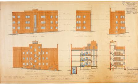 , The Justileus and Frederick plan for the flats built for Gordon Luscombe. Stanton Library