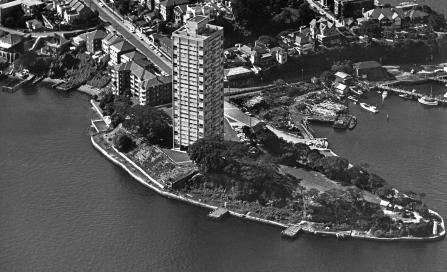 , 'Blues Point Tower' shortly after completion in 1962. Photograph by Australian Air Photos. Stanton Library