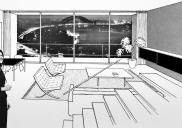 , An interior photograph and sketch montage of the interior of a Blues Point Tower unit. The inclusion of Mies van der Rohe's iconic Barcelona Lounge is indicative of Seidler's cosmopolitan approach to design. The image appeared in Urban Development Concerns You, 1957. Courtesy Seidler family and Max Dupain and Associates / Eric Sierens