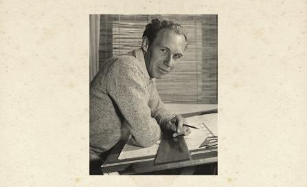 , Bryce Mortlock at his drafting desk in the 1950s. Photograph by Max Dupain, courtesy of the Mortlock family