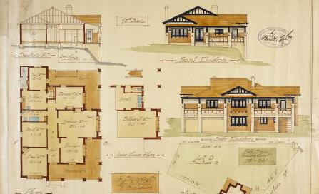 , This 1920 plan by W Simon and Co. shows a large Californian Bungalow typical of affluent Wollstonecraft. The half-timbered gable shows clearly the link to earlier English Revival styles. Stanton Library
