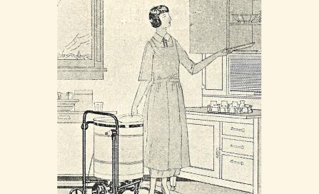 , This portable electrical dishwasher was featured in <i>Building</i>, 23 March 1923. Electrical appliances of any kind were still novel at this time. The woman appears to be dressed in the well-pressed attire of a maid. Stanton Library