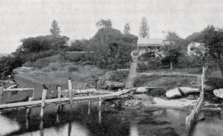 , 'Thrupps Cottage' was built on the Neutral Bay waterfront around 1826 and survived until the 1890s when this photograph may have been taken. It was named after Thrupp's Estate – the name given to most of Neutral Bay after John Piper purchased the land as a wedding present for his son-in-law Alfred Thrupp. Alfred never resided there. Stanton Library