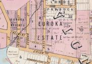 , This 1887 map shows the closely subdivided land surrounding the Euroka estate and the difference in size between these properties and those such as 'Graythwaite' and 'Upton Grange' on the hill. Stanton Library