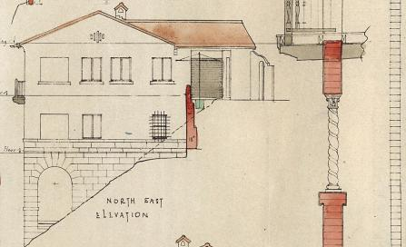 , Thomas Esplin's plan for the Jamison House clearly show the slope of the site and details such as the twisted column which characterises the Inter-War Spanish Mission style. Stanton Library