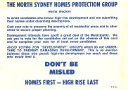 , This North Sydney Homes Protection Group election literature from the late 1960s or early 1970s outlines clearly the philosophy that had underpinned the group since it was formed in the 1950s. Stanton Library