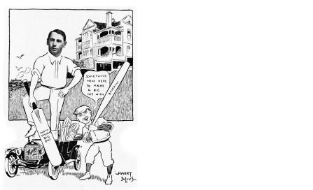 , This cartoon of Rupert Minnett appeared in the 1915 publication <i>Sydneyites as we know 'em</i>. The family house 'Nengah' (now demolished) is in the background. National Library of Australia