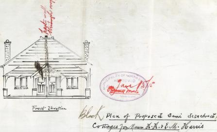 , This front elevation shows a pair of semi-detached cottages planned for Holtermann Street, Crows Nest, in 1915. The 'party wall' referred to in red was a fire precaution recently added to the building ordinance. The owners, apparently speculator builders, accompanied their application with the request that they not be compelled to extend the wall into the roof as 'it will adversely affect the scale of the property'. Remarkably, they were permitted to exclude the wall extension. Stanton Library