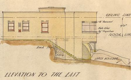 , The side elevation of the house EM Osborn designed for 'E Simms Esq.' gives the impression of a flat roofed dwelling. However, the architect used a low parapet to hide the slightly pitched roof which probably avoided the problem of leaks which plagued many Modernist flat roofed houses. Stanton Library