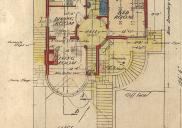 , The circularity of the 'Simms House' was emphasised by the round hallway, clearly laid out in this floorplan. Stanton Library