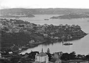 , A section of the panorama photographed by Charles Bayliss from Holtermann's tower showing the Milsons Point waterfront at Lavender Bay, 1875. State Library of NSW